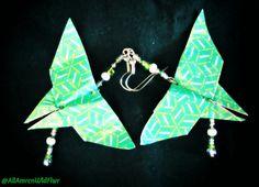 Green Origami Butterfly Beaded Earrings, by #AmrcnWldFlwrDesigns on Etsy, $25.00