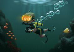 Kid Cartoon Character - Underwater #character #kid
