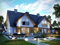 Projekt domu z poddaszem Sambor G2 (dwulokalowy) o pow. 222,98 m2 z garażem 1-st., z dachem dwuspadowym, z tarasem, sprawdź!