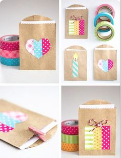 Simple party favor gift bags made with washi tape! Perfect for DIY wedding, birthday, graduation, and more. Just use little brown paper bags and let the washi tape be your fun design. Diy And Crafts Sewing, Diy Crafts, Diy Washi Tape Crafts, Small Gift Bags, Pretty Packaging, Gift Packaging, Packaging Ideas, Simple Gifts, Simple Bags