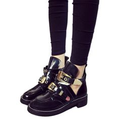 """Department Name: AdultItem Type: BootsShoe Width: Medium(B,M)Process: SewingSeason: Spring/AutumnPlatform Height: 0-3cmWith Platforms: YesClosure Type: Buckle StrapBoot Height: AnkleToe Shape: Round ToeInsole Material: EVAis_handmade: YesUpper Material: PUDecorations: BuckleHeel Height: Med (1 3/4"""" to 2 3/4"""")Pattern Type: SolidLeather Style: Patent LeatherGender: WomenOutsole Material: EVAShaft Material: PULining Material: Pig LeatherModel Number: M86Heel Type: Square heelBoot Type: Riding…"""