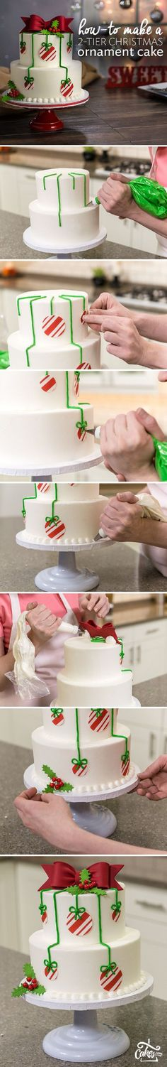 How-To Make a 2-Tier Christmas Ornament Cake - 17 Amazing Cake Decorating Ideas, Tips and Tricks That'll Make You A Pro #christmastips&tricks