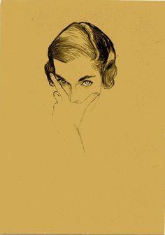 Portrait of Mona Bismark by René Bouché