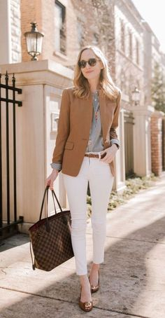 Spring work outfits, formal business attire и business casual outfits. Stylish Work Outfits, Spring Work Outfits, Work Casual, Casual Summer, Summer Office Outfits, Classy Outfits, Classy Casual, White Pants Outfit Spring Work, Beautiful Outfits