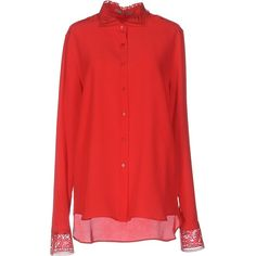 Ermanno Scervino Shirt ($570) ❤ liked on Polyvore featuring tops, red, red top, red shirt, red long sleeve shirt, long sleeve tops and shirt top