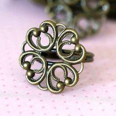 2pcs BRASS Adjustable Flower Ring Base  K443-AB | Doubleangel - Jewelry Supplies on ArtFire