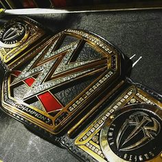 The WWE World Heavyweight Championship with  Roman's new side plates