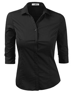 6fb84a94bc419b Womens Basic Slim Fit Stretchy 3/4 Sleeve Button Down Collared Shirt with  Plus Size