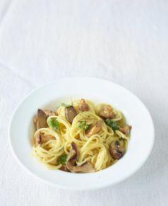 Rezept:   Pilz-Carbonara mit Bergkäse