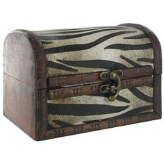 "Small Zebra Print Rustic Box is crafted from wood and features a dome style lid. The hinged lid opens up to expose a hollow, brown wood interior perfect for storing small items out of sight. A brass latch in the front serves as the locking system.    	Dimensions:    	  		Width: 5 3/4""  	  		Depth: 4 1/4""  	  		Height: 4 1/4"""
