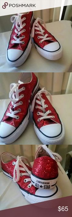 Converse red glitter These gorgeous red glitter low tops are the perfect finish to any outfit. Whether it be a fun evening gown or the perfect Christmas sweater and jeans period in near-perfect condition. Converse Shoes