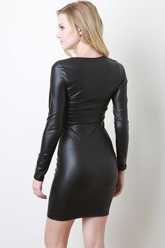 Eloisa s Boutique - Keyhole Leatherette Bodycon Dress 82e7b66cb