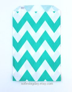 TURQUOISE CHEVRON  Stripe Treat Bags-goody bags- favor bags-packaging-chevron stripe favor bags-mermaid-my little pony-princess-20 count on Etsy, $4.00