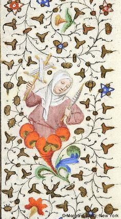 Woman, wearing wimpled veil, emerging from flower, holding yarn winder in right hand and spindle in left hand Medieval Life, Medieval Art, Illuminated Letters, Illuminated Manuscript, Everything Is Illuminated, Yarn Winder, Medieval Tapestry, Watercolor Painting Techniques, Byzantine Art