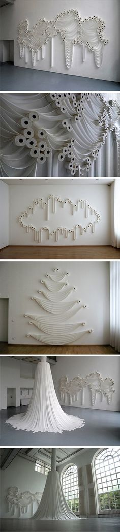 Les incroyables installations de Sakir Gökcebag artiste Turc- Journal du Design - Comme de la dentelle ou un tissu précieux, il magnifie le papier toilette, lui donnant une nouvelle dimension et jouant aussi bien avec le rouleau qu'avec les guirlandes…