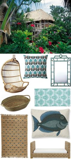 Floriday Keys Beach House Essentials by @chiccoastalliving: Hanging Rattan Chair, Montauk Pillow, Bungalow Mirror, Jute Rug.