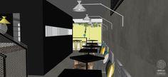 Bar Estilo Industrial | Quem passa em frente à cozinha, depara-se com uma espécie de vitrine, em que é possível observar as etapas de preparação dos alimentos e bebidas.