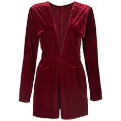 Burgundy Plunge V-neck Long Sleeve Velvet Romper Playsuit ($30) ❤ liked on Polyvore featuring jumpsuits, rompers, shorts, velvet rompers, playsuit romper, red rompers, velvet romper and long rompers