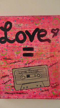 Mix Cassette Tape Love Mixed Media Wall Art by amazingstacy