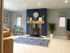 Vintage Blue Living Room Design Ideas You Must Have – Blue is one of the most popular favorite colors in the world. However, it often translates as masculine or like a baby boy's nursery when used in home decor. Navy Living Rooms, Blue Living Room Decor, Living Room Lounge, New Living Room, My New Room, Living Room Interior, Home And Living, Living Room Designs, Chic Shadow Dulux Living Room