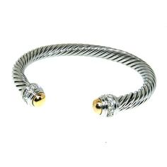 Designer Inspired Cable Style Bracelet  with Ice CZ Stones and Gold Vermil Tipped