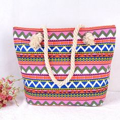 Women's Pink Print Rope Handle Canvas Beach Tote Bag