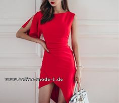 Asymmetrisches Damen Kleid in Rot