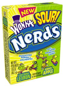 Wonka sour nerds candy with lemon & apple flavors - 1.6 oz/pack, 24 ea