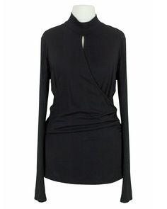 Damen Shirt Wickeloptik, schwarz von S-twelve   meinkleidchen Damenmode aus Italien Shirts & Tops, High Neck Dress, Blouse, Long Sleeve, Sleeves, Dresses, Women, Fashion, Mandarin Collar