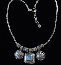 Clearance Sale! Sterling Silver Om Lotus Necklace with Rainbow Moonstone, handcrafted in Bali by Bluemoonstone Creations.