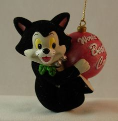 "Disney Parks Pinocchio Figaro ""Worlds Best Cat"" 3 1 2"" Resin Christmas Ornament 