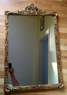 Antique Vtg Art Deco Scalloped Beveled Glass Etched Mirror