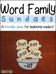 The Kindergarten Connection: Word Family Game (and freebies)