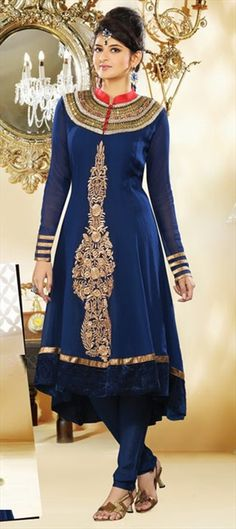 96722:   Try the rich shade of Navy Blue in Anarkali. #Color2013.  Shop with flat 15% off.