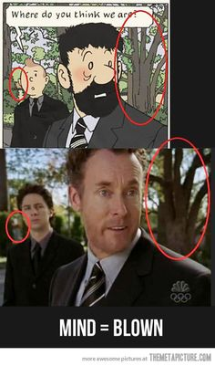 parallels between Tintin and Scrubs -> I never noticed this! Best Funny Pictures, Funny Photos, Funny Images, Mind Blown Meme, Dr Cox, Scrubs Tv Shows, Movies And Series, Funny Jokes, 9gag Funny