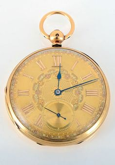English 18 karat yellow gold pocket watch with open face multi gold engine turned case with 13 jewel lever fusee movement, key wind and set, by JF Sedman, circa 1867. Movement #45974 featuring pointed tooth escapement with gold balance, case is 52mm.