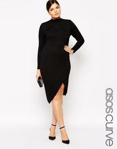 Image 1 ofASOS CURVE High Neck Bodycon Dress with Asymmetric Hem