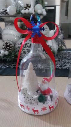 DIY Christmas tree ornament from plastic wine glass. Santa Claus with his snowy Christmas tree searching for his dog. Beautiful Christmas DIY for kids