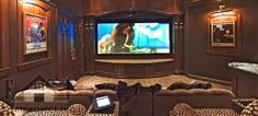 The-Red-and-Beige-Cinema-Room-at-Home Media-Room-Ideas-with-Decorative-Wall-and. The-Red-and-Beige-Cinema-Room-at-Home Media-Room-Ideas-with-Decorative-Wall-and-Plush-Seating Med Home Cinema Room, Home Theater Rooms, Home Theater Design, Best Home Automation, Home Theater Furniture, Furniture Ideas, Kitchen Furniture, Furniture Design, Small Media Rooms