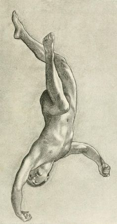 'Study of a flying figure for Prospero Summoning Nymphs and Deities' by Herbert James Draper, c. 1902.
