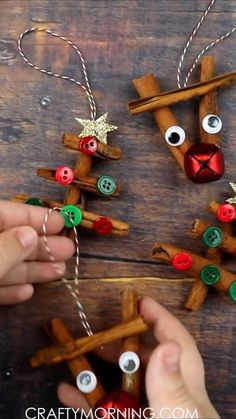 Cinnamon Stick Ornaments- reindeer and christmas tree ornaments! Christmas craft for kids and adults to make. christmas ornaments for tree Cinnamon Stick Reindeer & Tree Ornaments - Crafty Morning Christmas Ornament Crafts, Xmas Crafts, Christmas Fun, Angel Ornaments, Decor Crafts, Reindeer Ornaments, Reindeer Christmas, Diy Ornaments, Ornaments Making