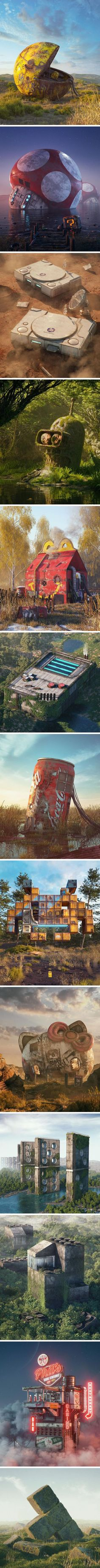 Pop Culture Apocalypse In Amazing Digital Art By Filip Hodas | Pacman, super mario, McDonald, coca cola, space invaders, hello kitty, domino, LEGO, tetsris | 90's kids, nostalgia, oldies | retro gaming
