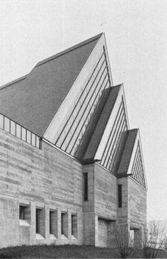 Ernst Gisel - Reformierte Kirche, Effretikon, 1961 Archi Design, Facade Architecture, Kirchen, Facades, Bauhaus, Art Deco, Stairs, Contemporary, Inspiration
