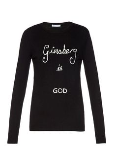 Bella freud Ginsberg Is God Wool Sweater in Black