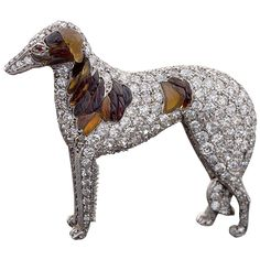 """Antique Diamond """"Borzoi"""" Dog Brooch with Carved Amber 