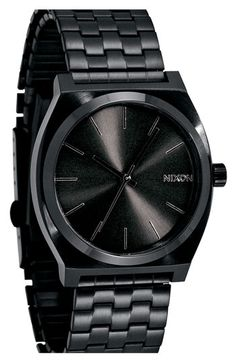 Cool black watch! Nixon 'The Time Teller' Stainless Steel Bracelet Watch, 37mm