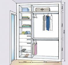 Small closet designs with measures - Decorating Homes Build A Closet, Kid Closet, Wardrobe Closet, Small Closet Design, Closet Designs, Wardrobe Design Bedroom, Closet Bedroom, Closets Pequenos, Mini Dressing