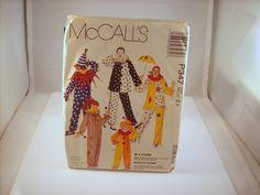 McCall's P347 BOY & GIRL CLOWN Costume Pattern SIZE S M L, 2-12