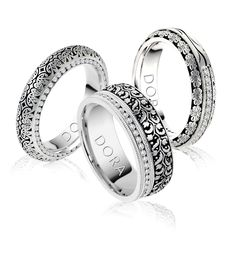 Lace pattern engraved rings...  www.dorarings.com