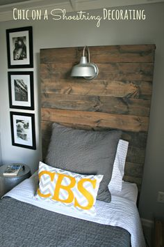 to Build a Rustic, Wooden Headboard with an attached light fixture. Headboard Tutorial by Chic on a Shoestring Decorating.How to Build a Rustic, Wooden Headboard with an attached light fixture. Headboard Tutorial by Chic on a Shoestring Decorating. Boy Headboard, Headboards For Beds, Headboard Ideas, Diy Headboard With Lights, Plywood Headboard, Linen Headboard, Headboard Designs, Rustic Wooden Headboard, Rustic Headboards
